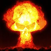 An image of a nuclear bomb with a skull poster
