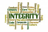 Integrity word cloud on white background poster