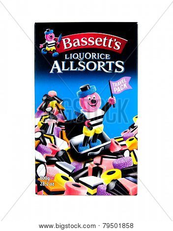 Hayward, CA - January 5, 2015: 800g  (28.2 oz) Travel Packet of Bassett's Liquorice Allsorts candy