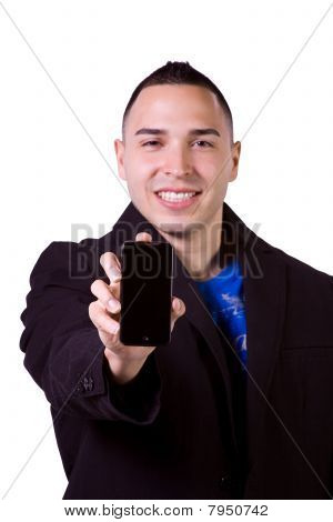 Hispanic Businessman Holding A Cell Phone