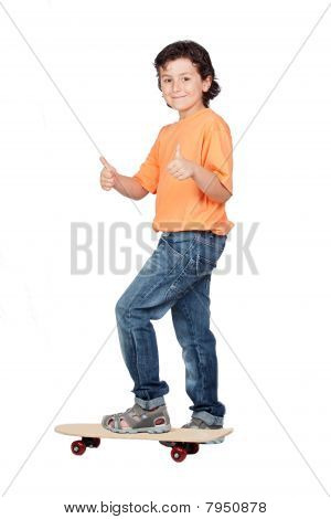 Nice  Child With Wooden Skateboard