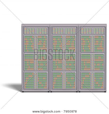 a historic science fiction computer or mainframe. 3D rendering with clipping path and shadow over white poster