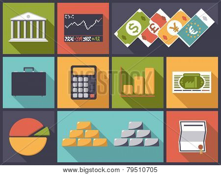 Flat design vector illustration with various financial and banking business icons