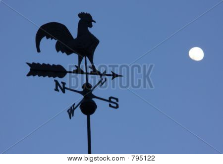 Morning Rooster Weathervane and Moon