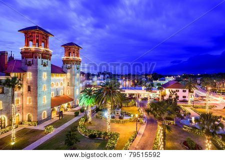 St. Augustine, Florida, USA townscape over Alcazar Courtyard.