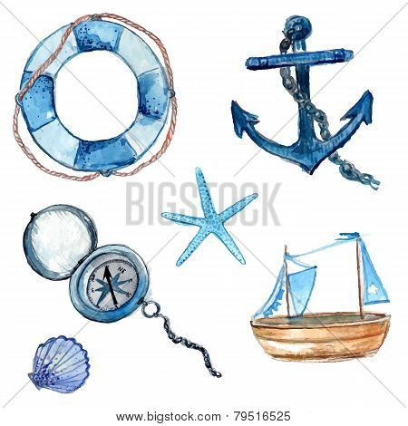 Nautical design elements hand drawn in watercolor. Life buoy with rope, compass, anchor, wooden ship