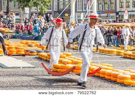 Carriers Walking With Many Cheeses In Alkmaar