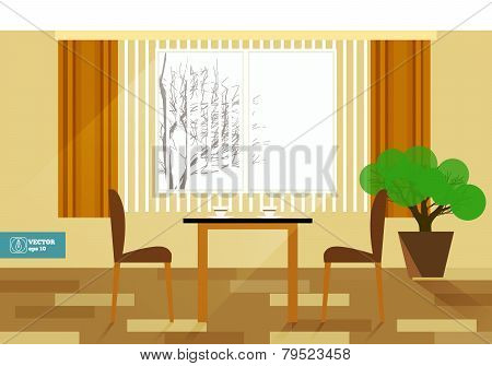 Flat Interior Room With Sofa. Vector Illustration