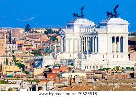 The monument of Altare della Patria ( Il Vittoriano) in Rome Italy poster
