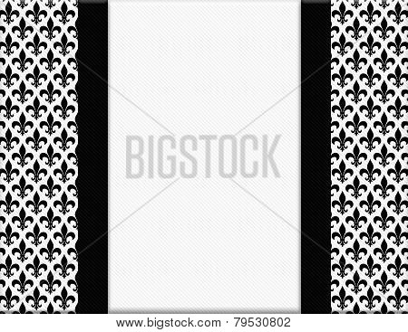 Black And White Fleur De Lis Pattern Textured Fabric With Ribbon Background