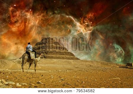 Step Pyramid And Carina Nebula (elements Of This Image Furnished By Nasa)