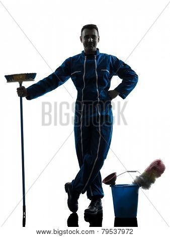 one  janitor cleaner cleaning silhouette in studio on white background
