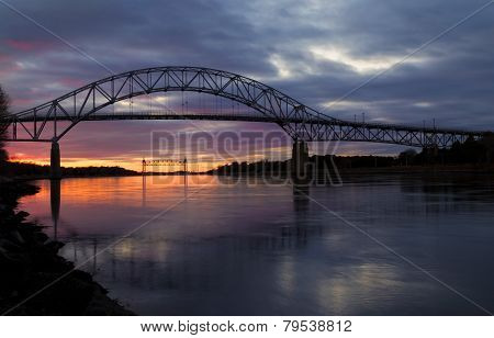 Bourne Bridge In Cape Cod At Sunset