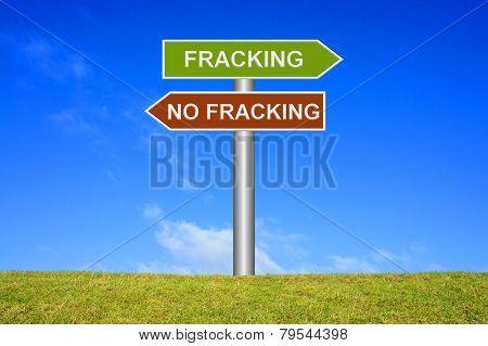 Sign showing fracking no fracking