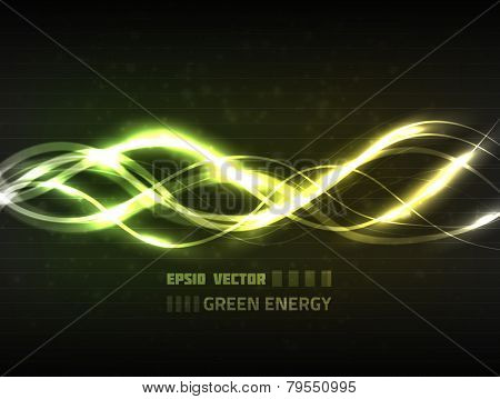 Vector abstract green energy concept on dark background for your design. Has bright green wavy lines and dim particles.