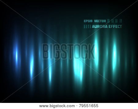 EPS10 vector abstract aurora effect for your design against dark background; composition is colored in shades of blue and green