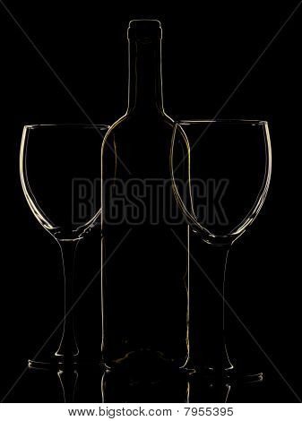 Abstract wine bottle and glass on the black background poster