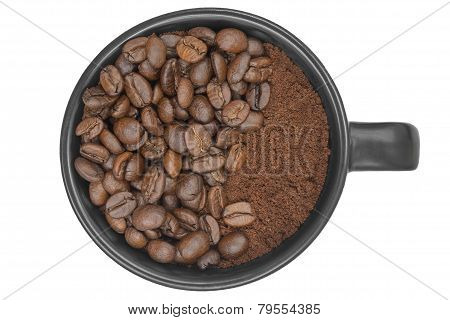 Top View Of Coffeebeans Filled In A Coffee Cup Isolated On White