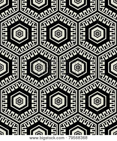 art black graphic geometric seamless pattern, rectangle background with hexahedron ornament