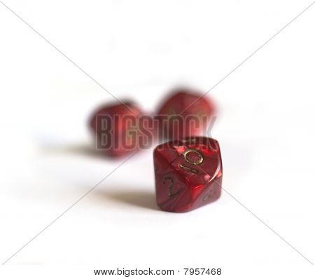 Red Ten Sided Dices Isolated On White
