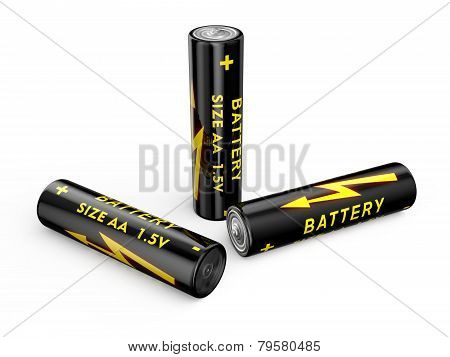 color batteries size AA isolated on white background poster