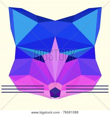 Bright Colored Polygonal Fox Head