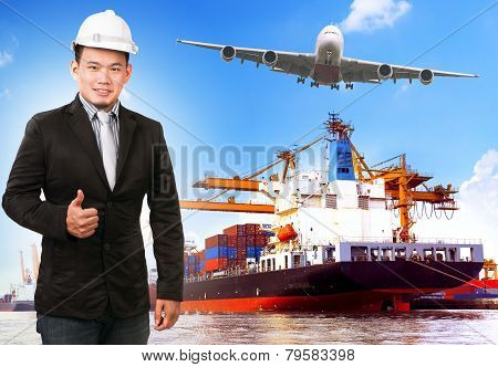 business man and comercial ship with container on port freight cargo plane flying above use for import export and shipping logistic industry service poster