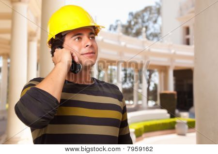 Handsome Hispanic Contractor With Hard Hat