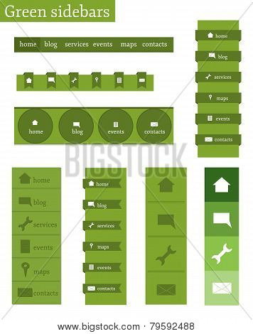 Templates of green sidebars