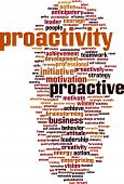Proactivity word cloud concept. Vector illustration isolated on white poster