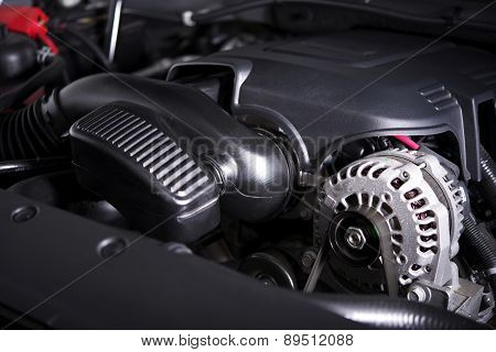 Modern Car Alternator And Engine
