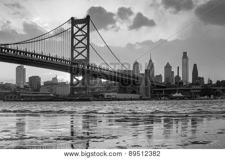 Panorama Of Philadelphia Skyline, Ben Franklin Bridge And Penn's Landing