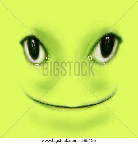 Green Smiling Frog Digital Illustration