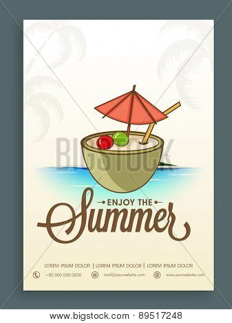 Vintage Summer Party template, banner or flyer design for tour and travels. poster