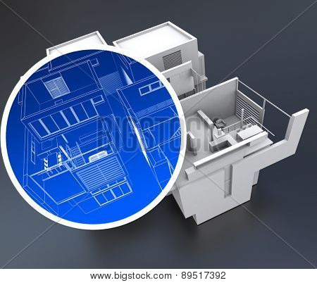 3D rendering of a building with a circle focusing on an element