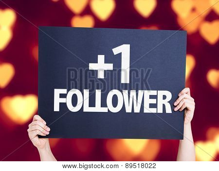 +1 Follower card with heart bokeh background