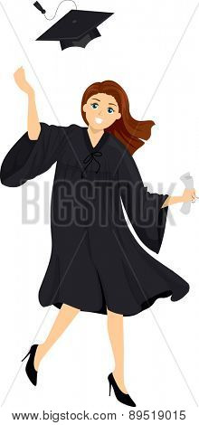 Illustration of a Girl wearing Academic Dress tossing her Graduation Cap