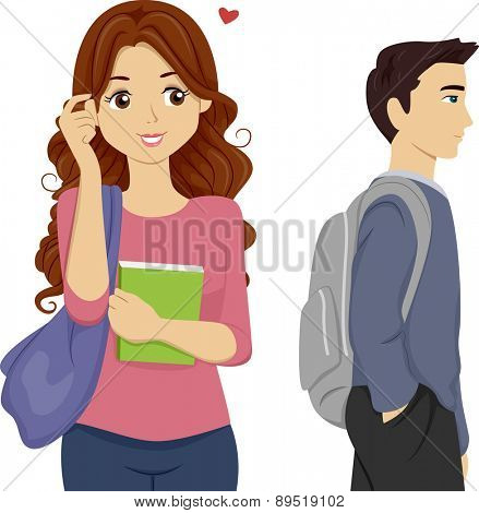 Illustration of a Teen Girl Student Looking over to Someone she Likes