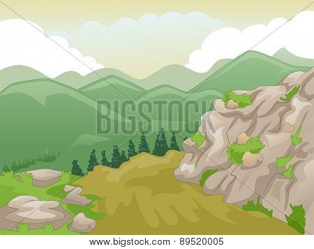 Scenic Illustration of Mountain Peaks Framed by a Yellowish Sky