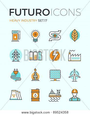Heavy Industry Futuro Line Icons