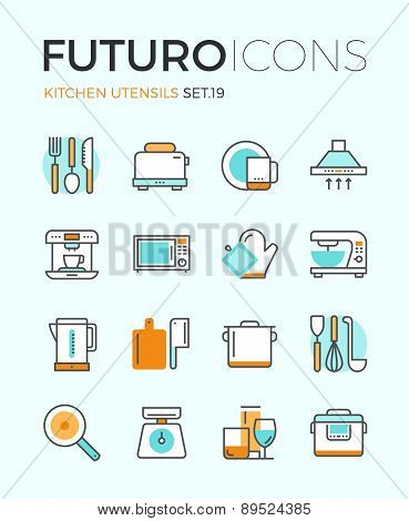 Kitchen Utensils Futuro Line Icons