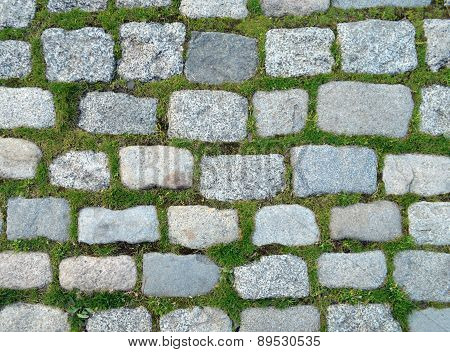 Background of stones and grass