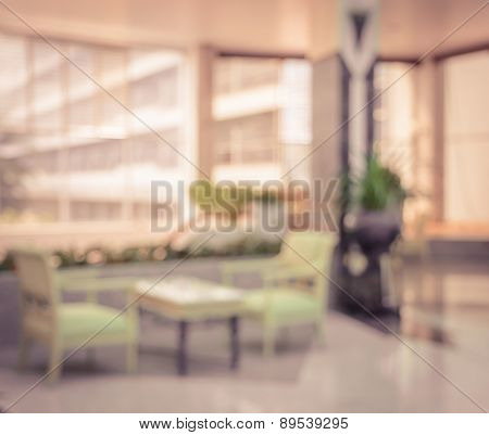 Abstract Hotel Lobby Blur Background In Vintage Effect