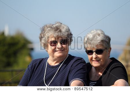 Smiling elderly twin sisters on holiday