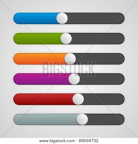 Vector Ui Sliders Colors Set. Volume Controls. Interface Elements.
