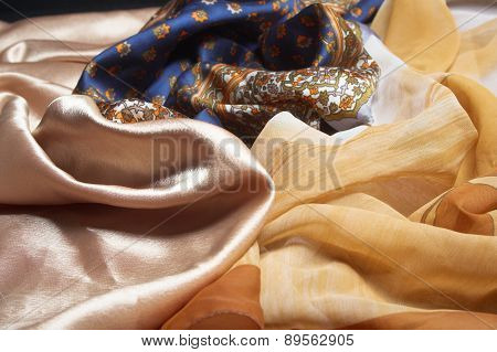Silk fabrics.