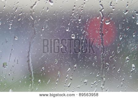 Dirty Window Glass With Water Vapor And Raindrop