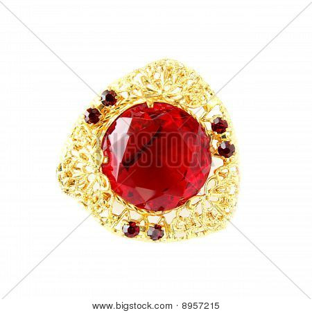 Vintage brooch with gem isolated on white poster