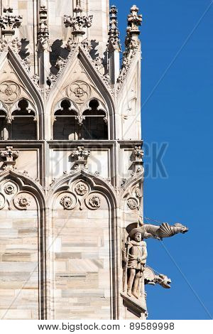 Gargoyles On The Facade Of The Milan Cathedral
