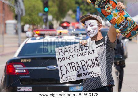 Masked Man Holding Poster